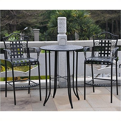 Pemberly Row 3-Piece Iron Patio Bar-height Bistro Set