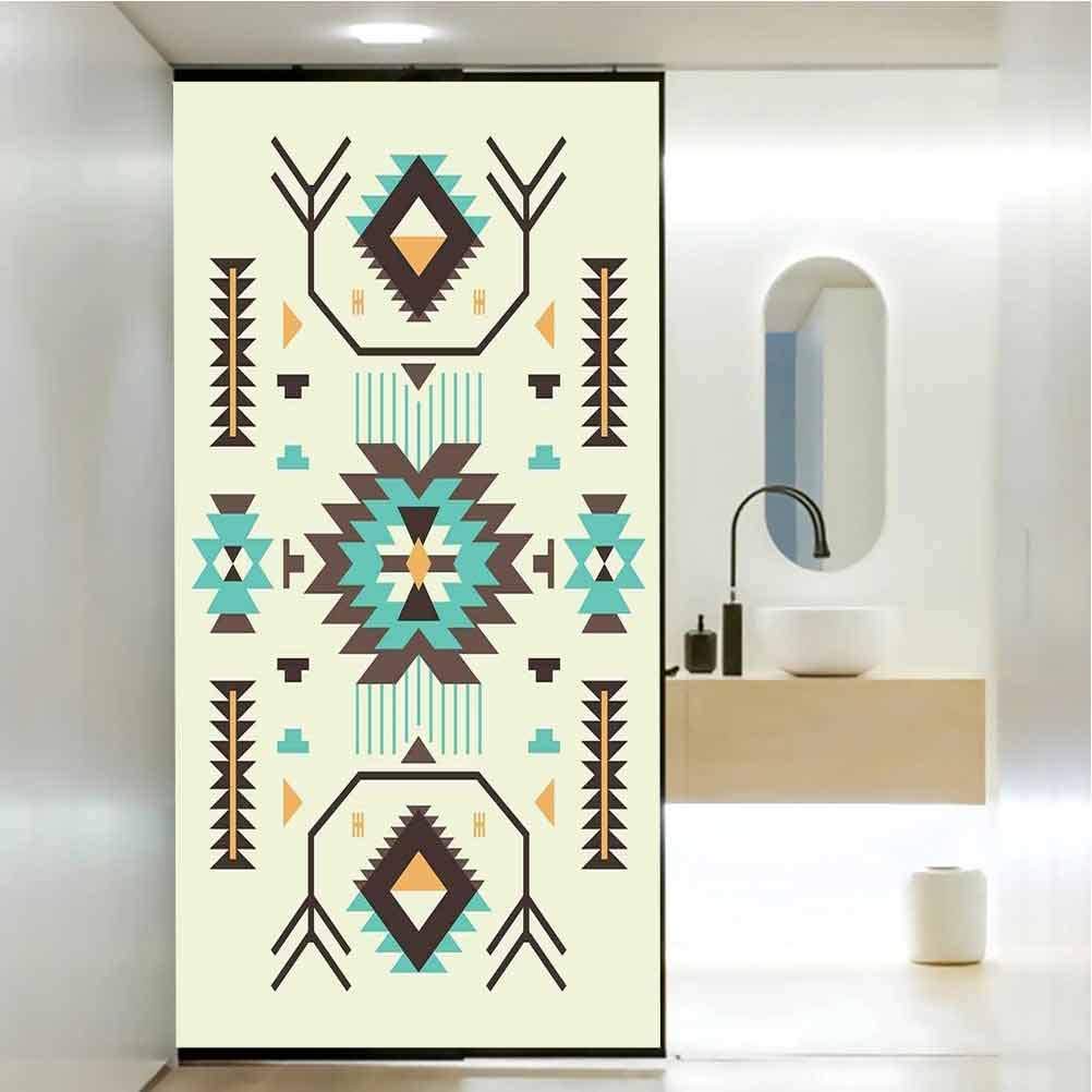 Privacy Home Decor Decorative Stained Glass Window Film, Southwestern Pattern Design from Ancient Aztec Cultur, Bathroom Office Meeting Room Living Room Window Membrane, W23.6xH47.2 Inch