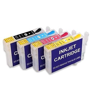 Cartucho de tinta recargable y tinta 4x50ml Compatible con tinta ...