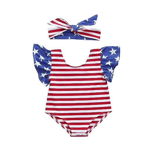 14bc88ff5e14 FTXJ 2PC Newborn Infant Baby Independence Day Stars Stripe American Flag  Print Ruffled Short-Sleeved