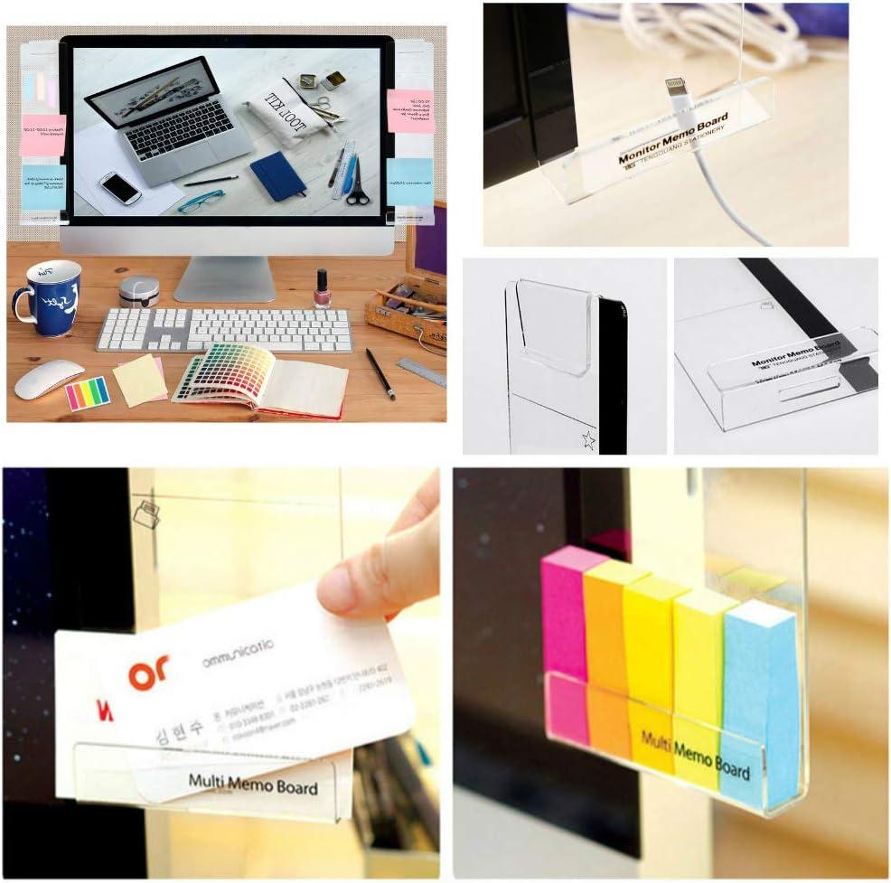 2 unids monitor de computadora tablero de notas acr/ílico Monitores tablero de mensajes y 5 paquetes de notas adhesivas de color para monitores de computadora pantalla panel lateral