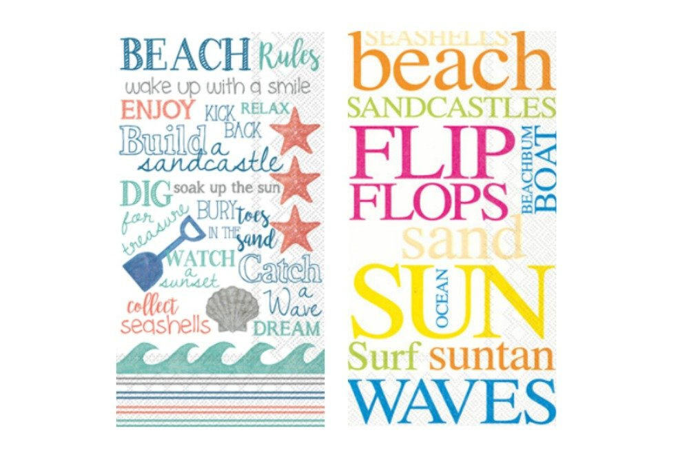 1 16 count Beach 16 count Beach Rules 1 Bundle of Guest Towels//Buffet Napkins Includes Hand Towels in a Beach Theme