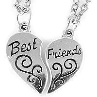 AKIEE Colgante Collar Best Friends Forever BFF Mejores Amigos Amistad Plateado y Negro