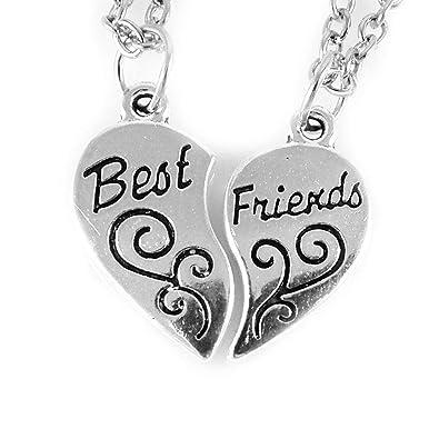 aa3d90303d24 AKIEE Colgante Collar Best Friends Forever BFF Mejores Amigos Amistad  Plateado y Negro (Plata)  Amazon.es  Joyería