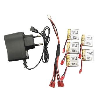 Fytoo 5pcs 3.7V 380mah Litio Batería y 5 en 1 Cable de Carga y ...