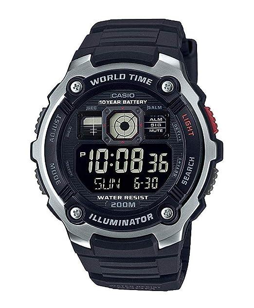 Casio Reloj Digital para Hombre de Cuarzo con Correa en Resina AE-2000W-1BVEF: Amazon.es: Relojes