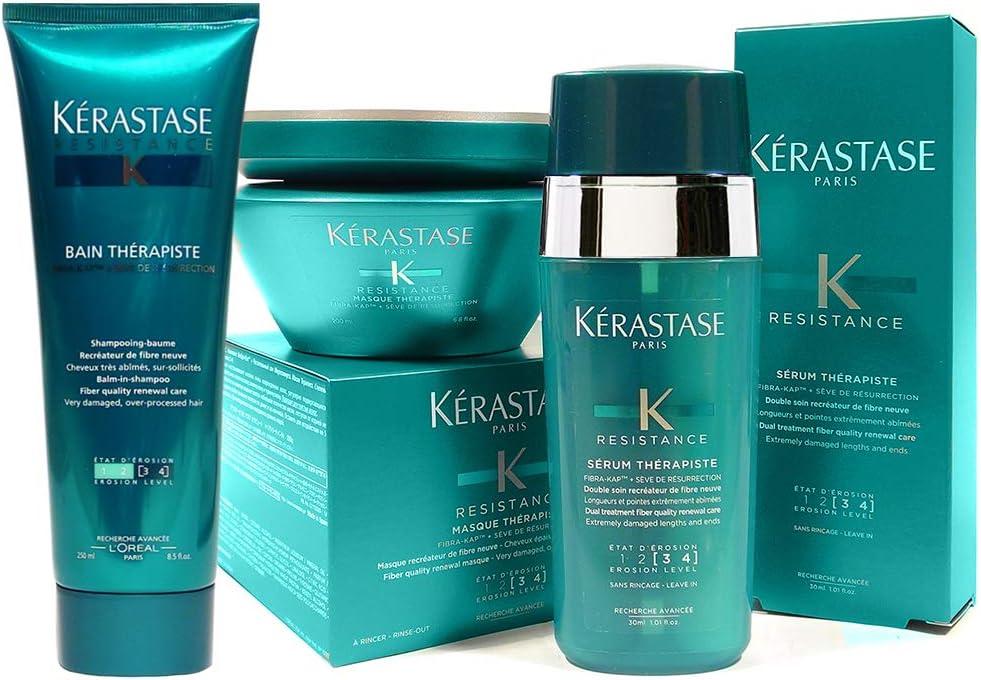 Banner Kit para cuidados com o cabelo Kérastase Resistance contendo Shampoo 250ml + Sérum 30ml + Máscara 200ml