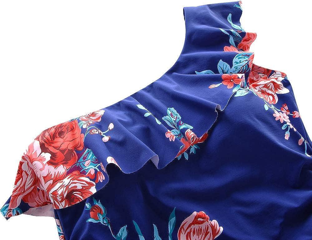 Hilor Womens One Piece Swimsuits One Shoulder Swimwear Asymmetric Ruffle Monokinis Bathing Suits
