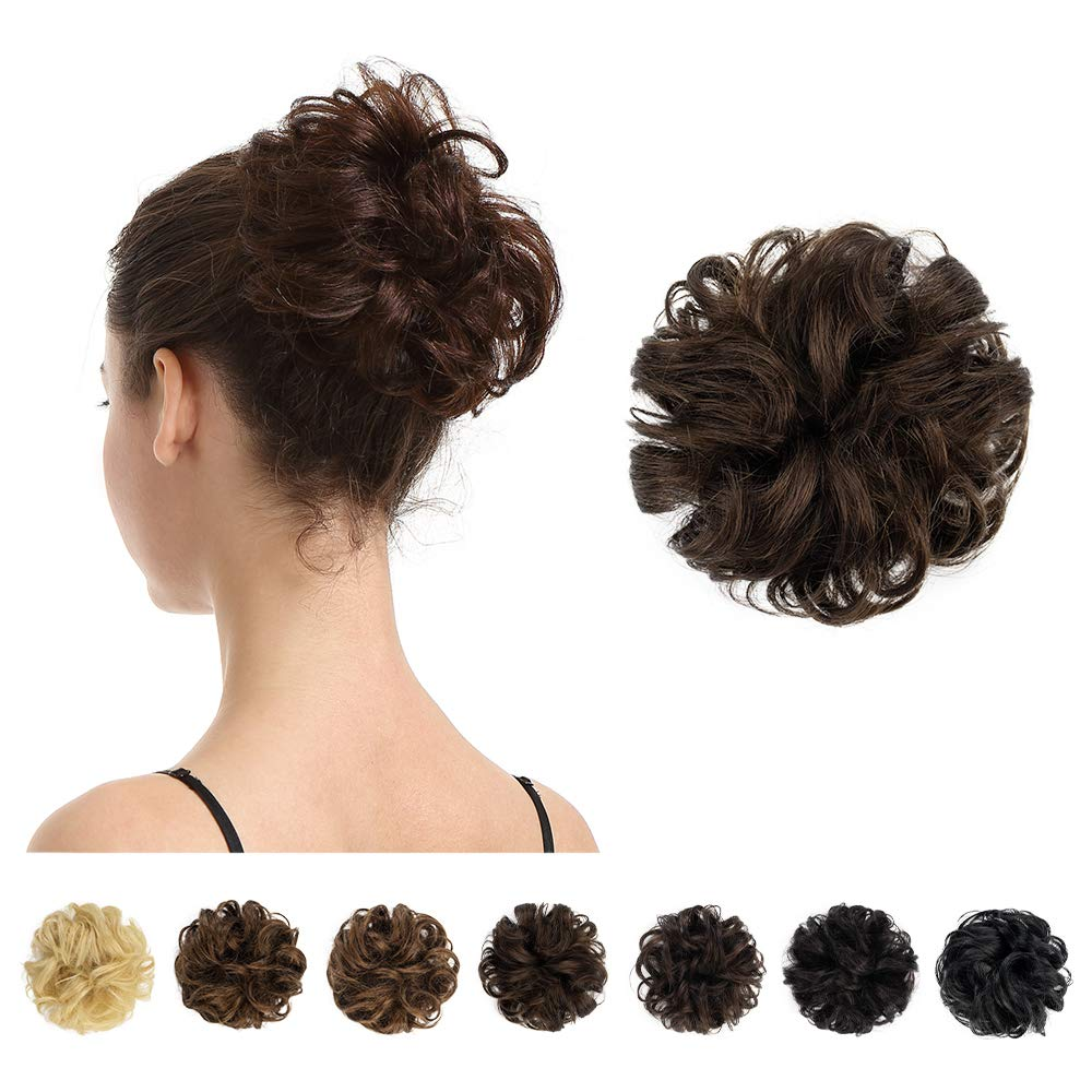 Messy  Thick Hair Bun Piece Scrunchies Cover Hair Extensions Real as human