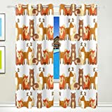 Vantaso Window Curtains 84 Inch Long Forest Animal Deer Fox Bear for Kids Girls Boys Bedroom Living Room Polyester 2 Pannels