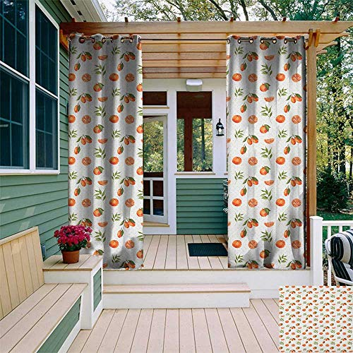 leinuoyi Burnt Orange, Outdoor Curtain Panel Design, Watercolor Orange and Tangerine Fruits with Leaves on Polka Dots, Outdoor Curtain Set for Patio Waterproof W108 x L96 Inch Burnt Orange Fern Green