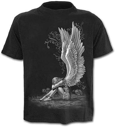 Camiseta Hombre Calavera - ángel - gótico - Manga Corta - Divertido - Camisa - Metal - Biker - niño - Rock - Punk - Oscuro - pentáculo - Halloween - Color Negro - Talla XXL Dark Metal: Amazon.es: Ropa y accesorios