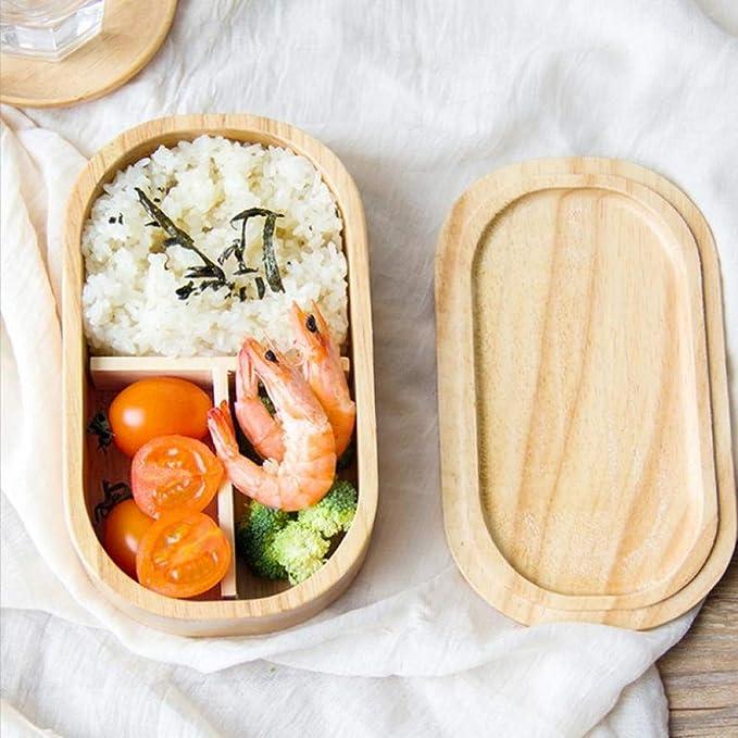 YXF Bento Box de plástico El Almuerzo Caja de Madera de Roble Compartimiento portátil Estudiante Caja de Embalaje de Madera sólida Llena Sushi Bento Cajas Vajilla, L (Color : S): Amazon.es: Hogar