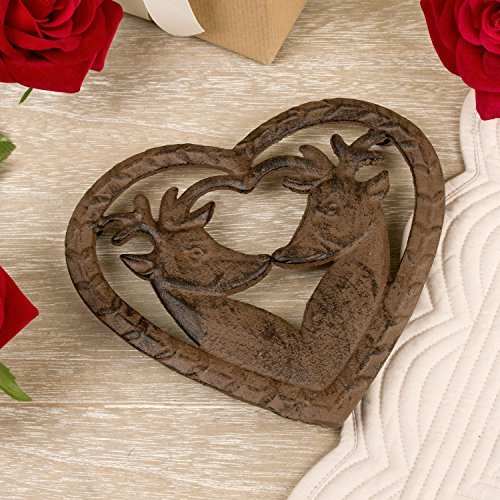Cast Iron Heart Shaped Deer Trivet - Wonderful 6th Anniversary Gift Idea - 15 x 17cm by Dibor (Shaped Trivet)