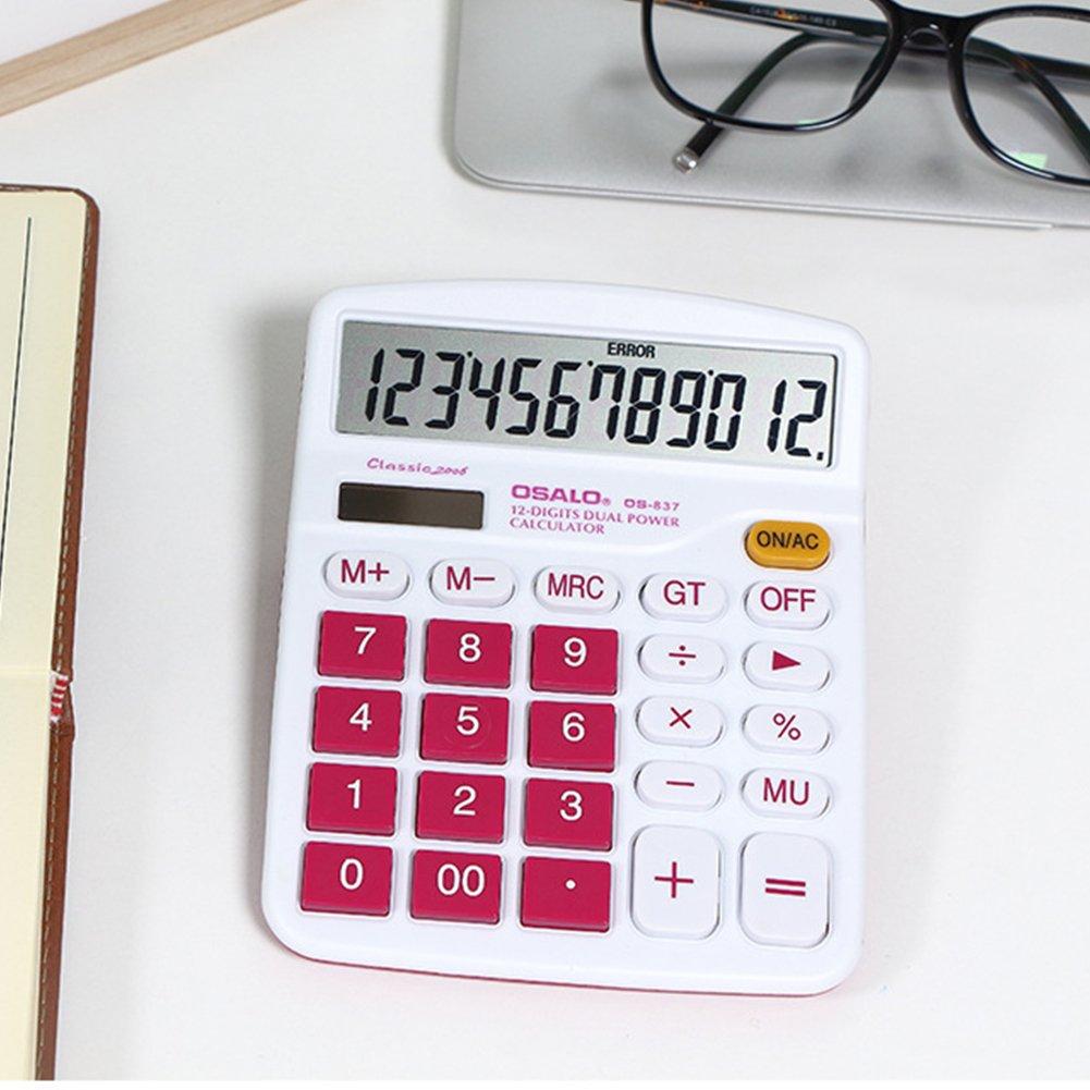 Eleganantimpresionante calculadora de escritorio escritorio de portátil de 12 dígitos, colorida batería solar de doble potencia, color rosa rojo 32de68
