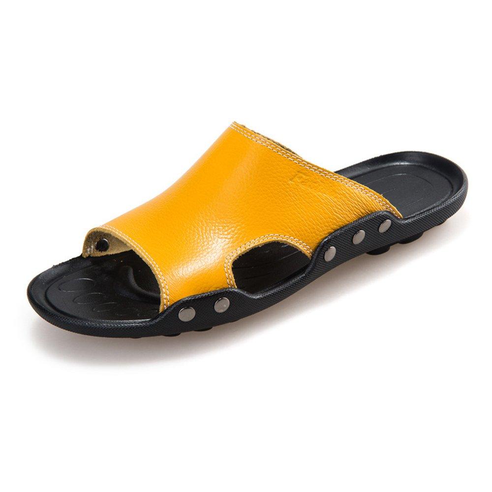 Zapatillas de Playa de Cuero Genuino de Piel de Vaca de los Hombres Zapatillas de Deporte Sandalias Antideslizantes,para los Hombres 42 EU|Yellow