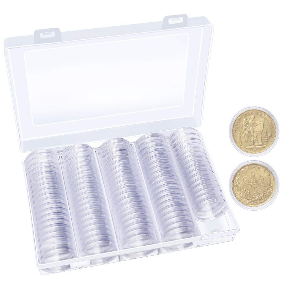 Hysagtek 100 Pcs Coin Capsules Round Coin Collection Holder Display Case Container With Storage Organizer Box for Coin Collection Supplies, 30 mm, Transparent