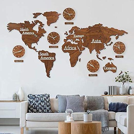 Mapa Mundo 3D con Madera Conjunto Relojes - Marrón 220x120 cm MDF ...