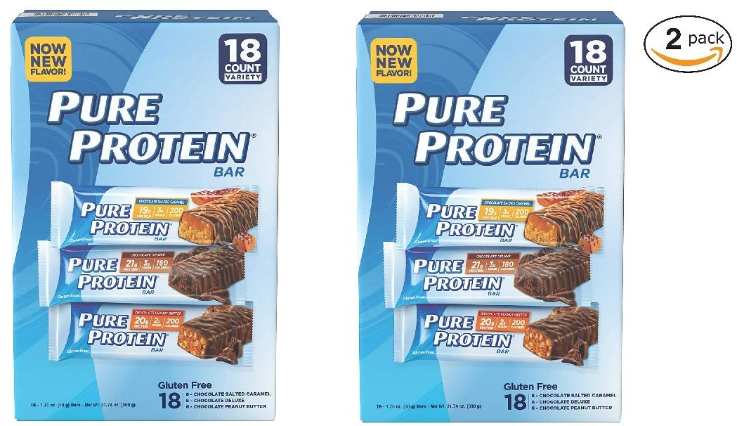 Pure Protein Bars, Chocolate Salted Caramel, Chocolate Deluxe and Chocolate Peanut Butter, Variety Pack, 1.76 oz, 36 Pure Protein Bars (2 Packs of 18)
