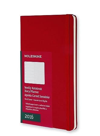 Moleskine 11437 - Agenda semanal 2016, 12 meses, tamaño bolsillo, color rojo escarlata