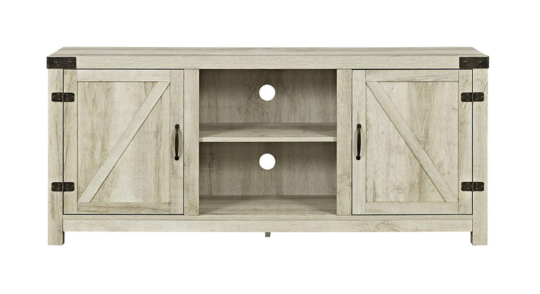 "WE Furniture W58BDSDWO Barn Door TV Stand, 58"", White Oak"