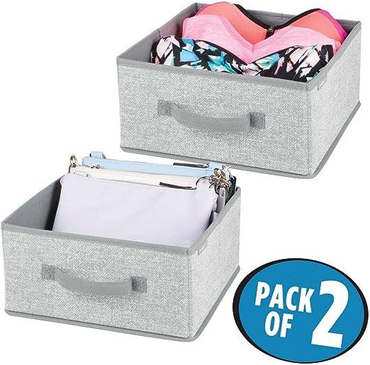 mDesign Juego de 2 cajas organizadoras para ordenar armarios – Organizadores para armarios de polipropileno – Cajas de tela para guardar ropa, mantas, accesorios y más – gris: Amazon.es: Hogar