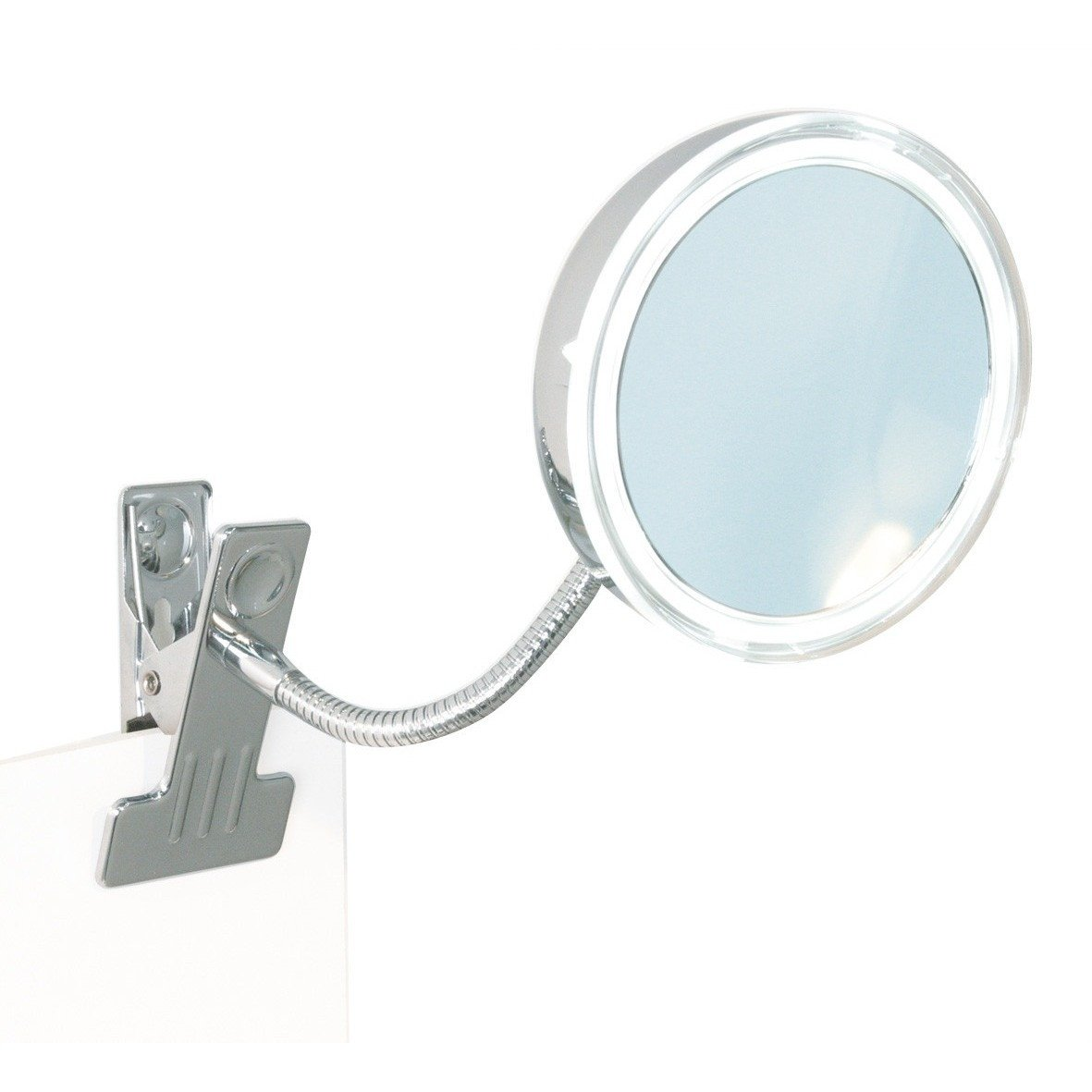 BR Clamp Round Flexible Arm 5X LED Cosmetic Makeup Magnifying Mirror
