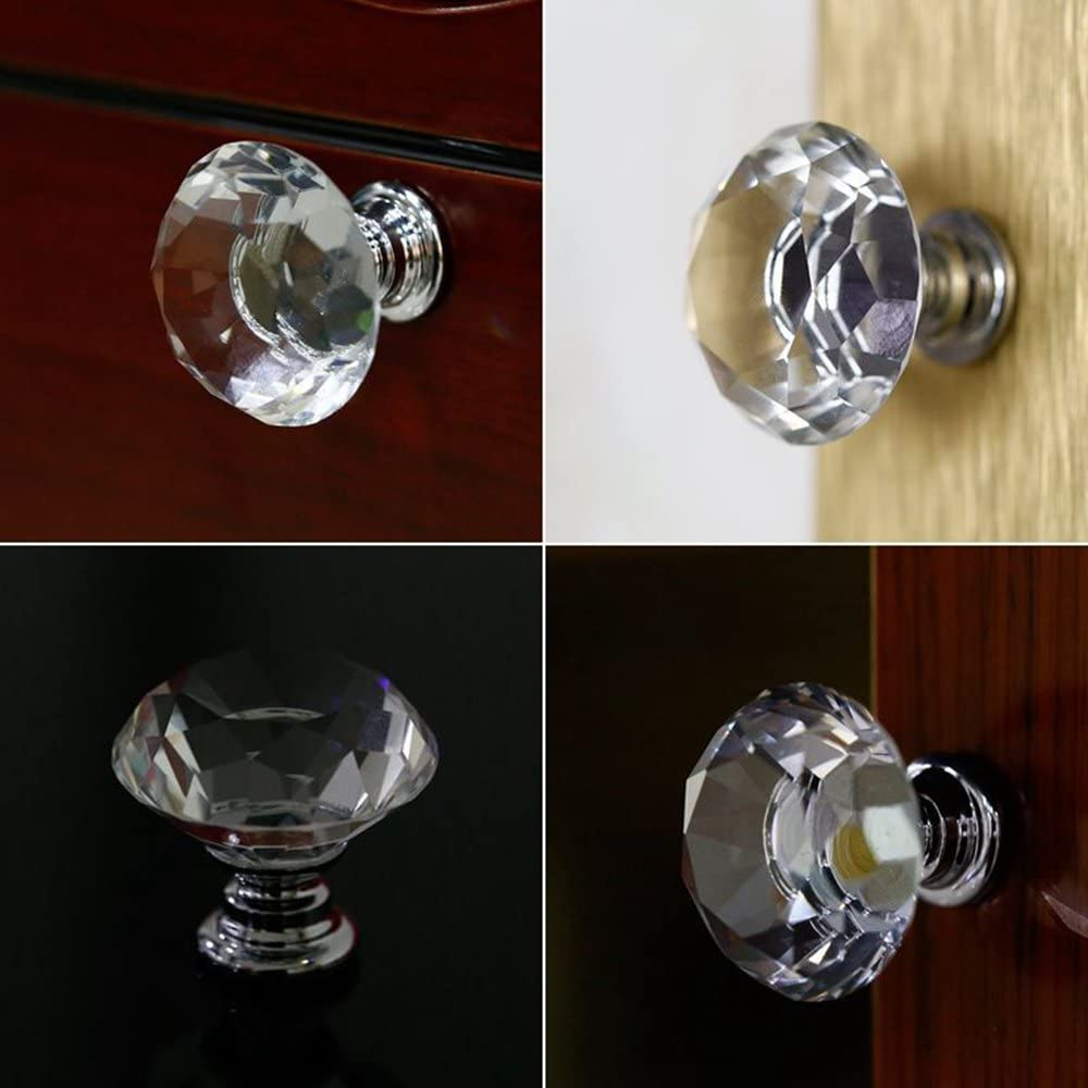 Crystal Door Knob Clear Glass Cabinet Knobs Round Cupboard Drawer Handle for Home Kitchen Office Bin Dresser 30mm with Screw 16pcs