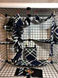 15 Piece Navy Blue,Gray,Green & White Sugar Glider Cage Set
