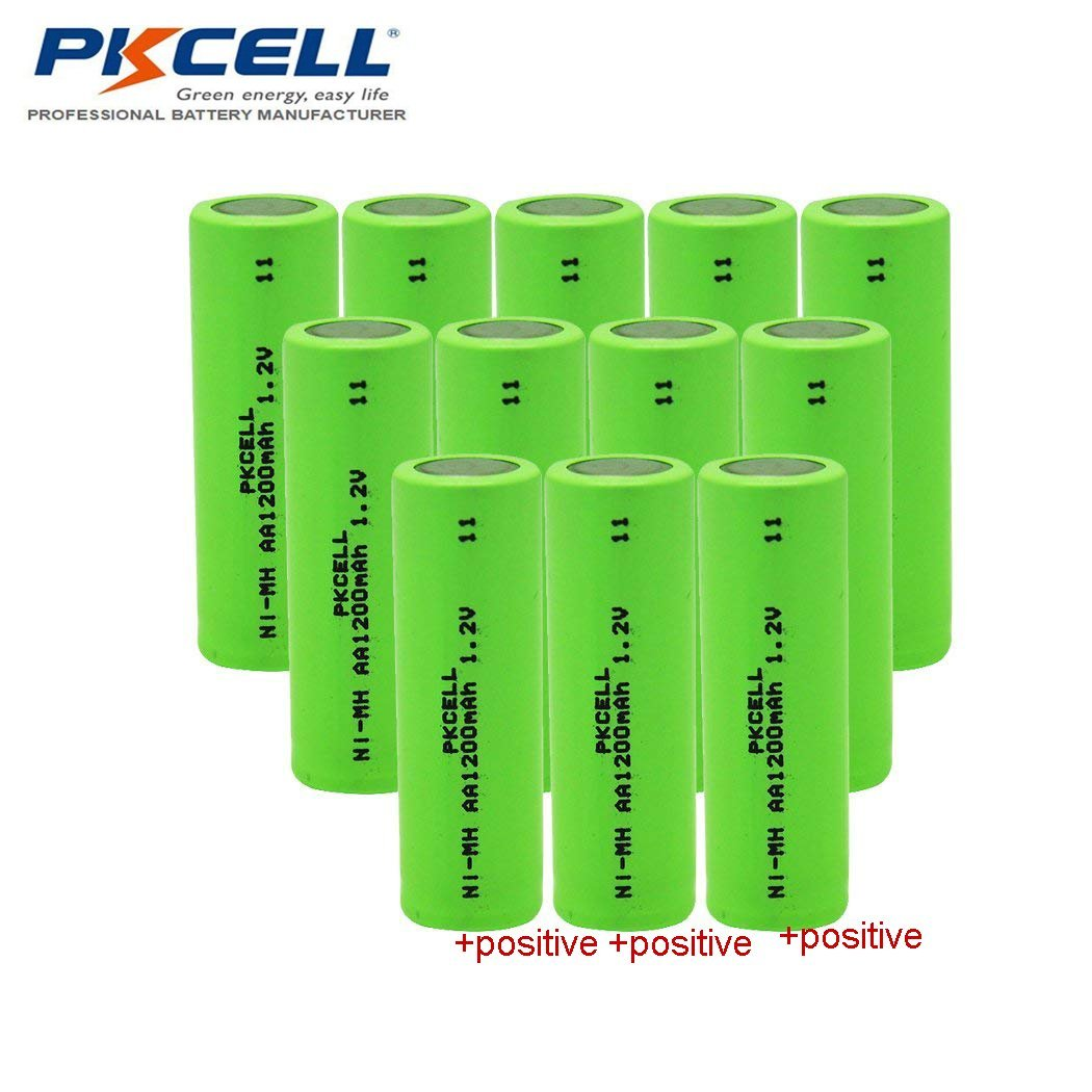 Aa Nimh Rechargeable Battery With Flat Top 12v 1200mah Nicad Charger 200ma H Batteries12 Packs Mp3 Players Accessories