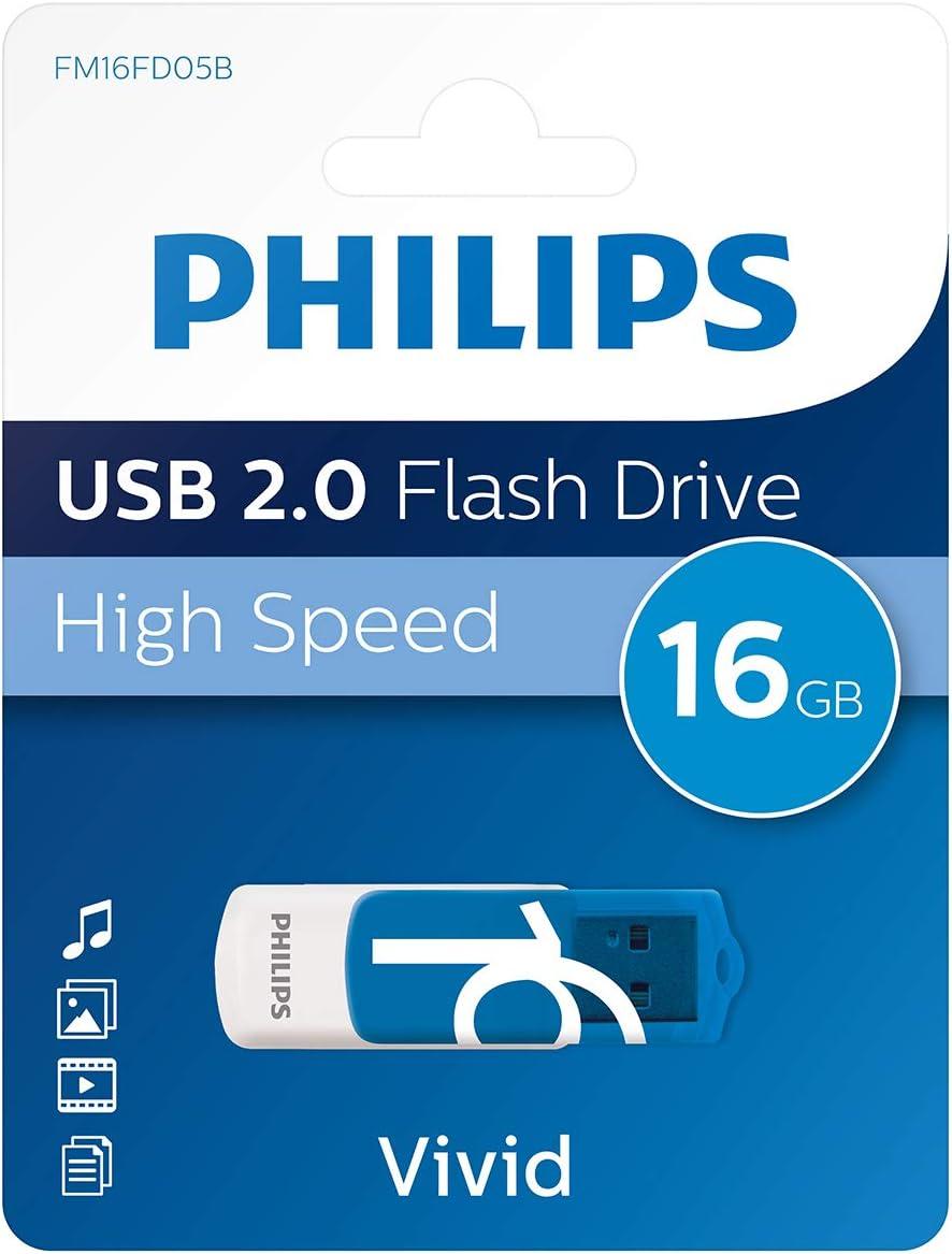Philips FM16FD05B - Memoria USB de 16 GB, Azul y Blanco