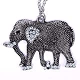 Jewelry Woman New Retro Crystal Carved Elephant Long Chain Sweater Necklace
