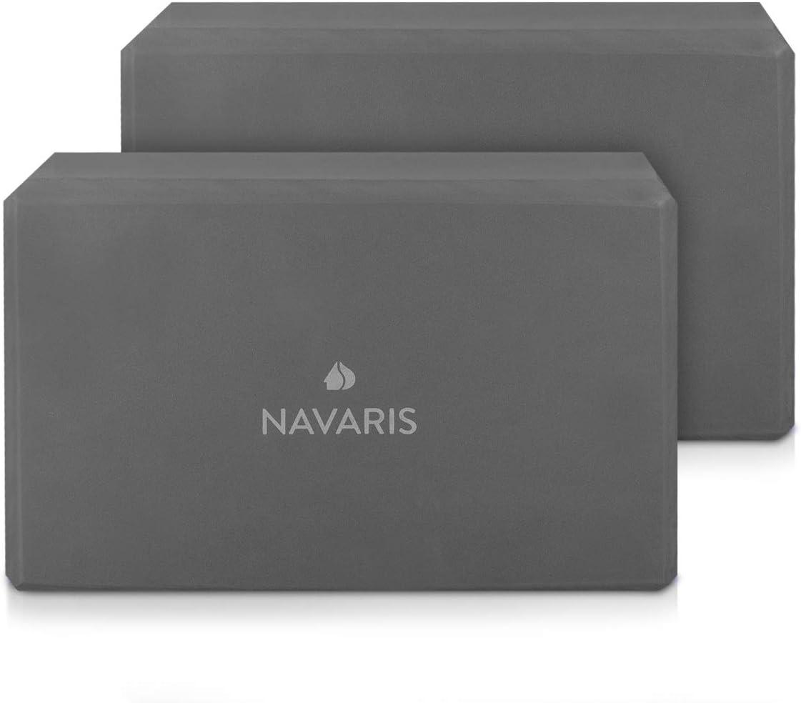 Accesorio para Ejercicios Ladrillos para Equilibrio en Azul 2X Bloques Antideslizantes para Yoga y Pilates Navaris Set 2en1 Bloque de Yoga