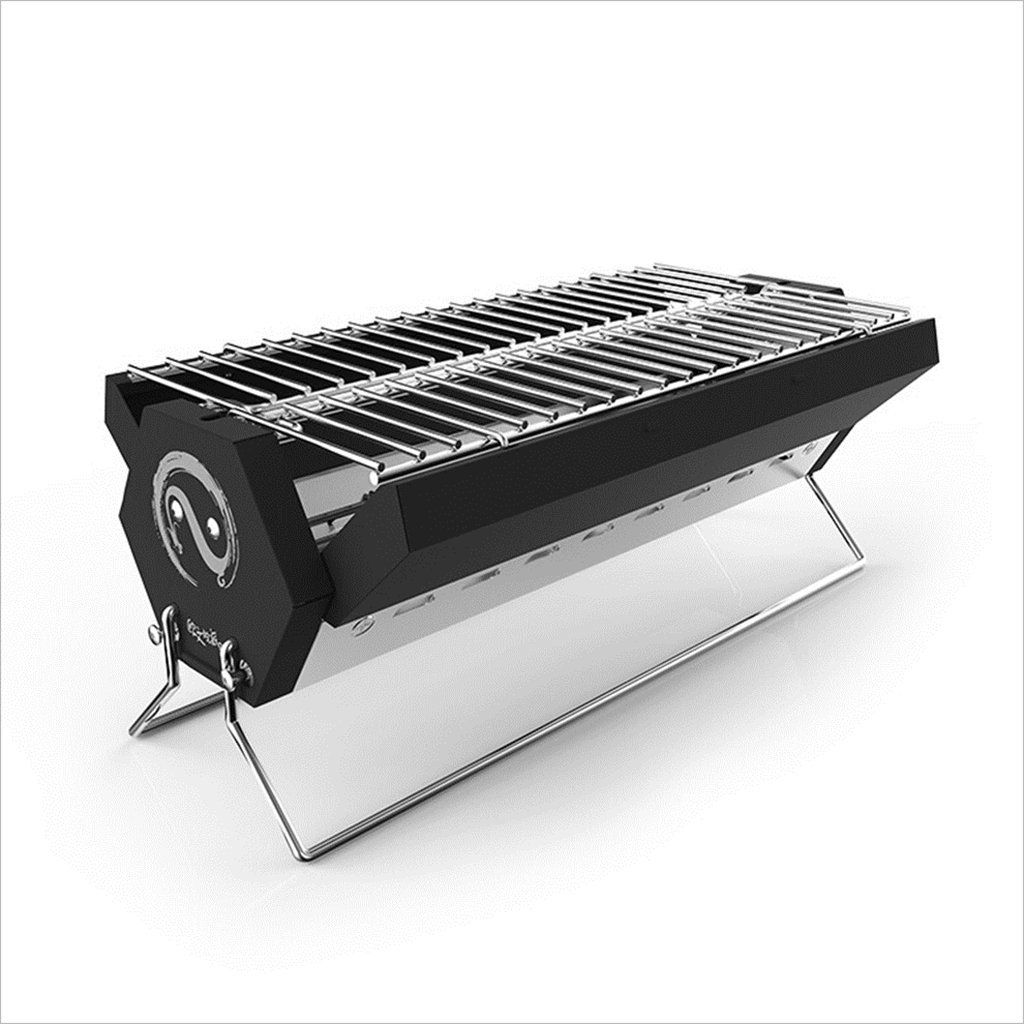YI HOME- BBQ Outdoor Folding Grill Stainless Steel Household Charcoal Mini Trumpet Balcony Barbecue Tools Black