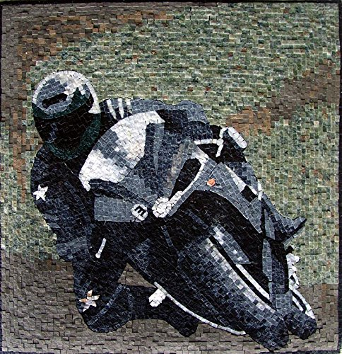 Mozaico - Motorbike Rider Wall Art Mosaic Handmade Marble and Natural Stone Design MS207 by Mozaico