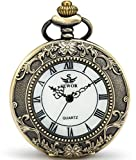 SEWOR Quartz Pocket Watch Shell Dial Magnifier Case With Two Type Chain (Leather+Metal) (Bronze)