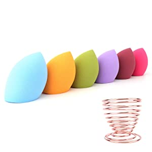 Makeup Sponge Set -6 Pcs Makeup Sponges Blender Blending Sponge, Flawless for Liquid, Cream, and Powder, Multi-colored Makeup Sponges and 1Extra Makeup Sponge Drying Rack