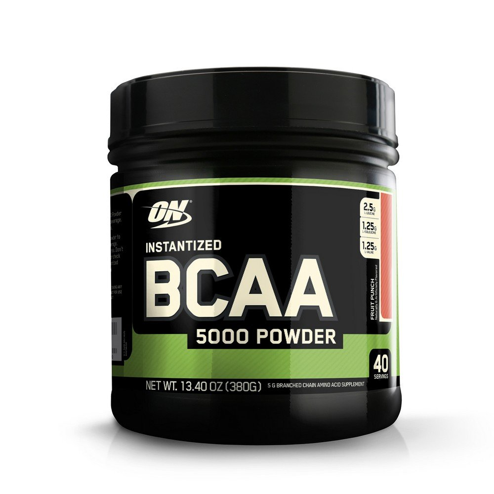 Optimum Nutrition Instantized BCAA Powder, Fruit Punch, 5000 mg, 380 Gram (Pack of 2)