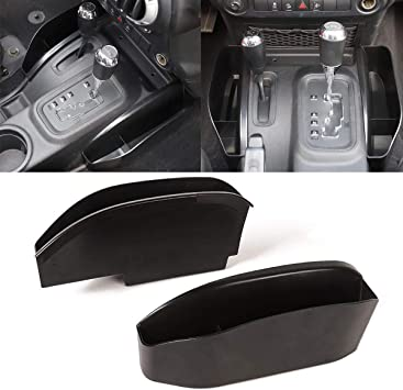 INSAUTO for Jeep Wrangler JKU JK Gear Shift Storage Box Organizer Tray,for 2011-2018 JK JKU Center Console Side Pocket Transmission Side Organizer Rubicon Sport Sahara Interior Accessories