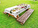 Lunarable Africa Outdoor Tablecloth, African Continent Map with Local Animals Diversity Lion Camel in Equator Design, Decorative Washable Picnic Table Cloth, 58 X 120 Inches, Multicolor