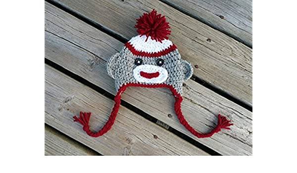 Amazon.com  Sock monkey handmade crochet hat size 0 to 3 months - ready to  ship - free shipping - baby boy or girl  Handmade 5487afc45c61