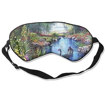 Goods Shops - Máscara de Dormir de Seda de Morera Negra, diseño de Flores de río Cisne, para Pintar los Ojos: Amazon.es: Jardín