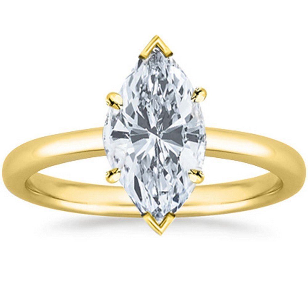 3/4 Carat GIA Certified 14K Yellow Gold Solitaire Marquise Cut Diamond Engagement Ring (0.75 Ct G-H Color, I1 Clarity) by Houston Diamond District