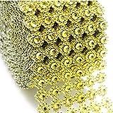 Gold Mesh Ribbon Flower Shape Rhinestone Ribbon Mesh Wrap Roll Diamond Bling Mesh for Wedding Decorations, Wedding Cake, Birthdays, Party Supplies, Arts & Crafts, 4' x 10 yards (30 ft) 1 Roll