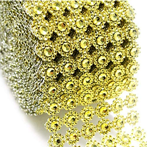Gold Mesh Ribbon Flower Shape Rhinestone Ribbon Mesh Wrap Roll Diamond Bling Mesh for Wedding Decorations, Wedding Cake, Birthdays, Party Supplies, Arts & Crafts, 4