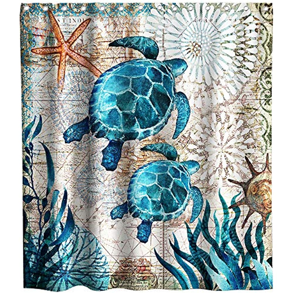 Green Sea Turtles Beach Theme Fabric Shower Curtain Sets Bathroom