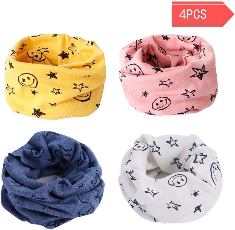 Danolt Bufanda de los niños, Bufanda de algodón de Invierno Calentador de Cuello Pañuelos para bebés, niños y niñas, 0-3 años de Edad