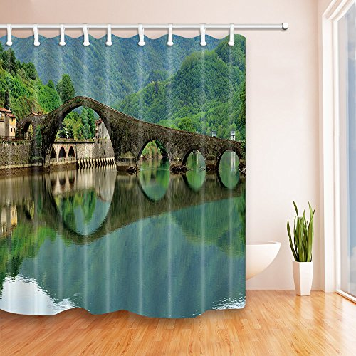 Stone Arch Bridge - Plant Theme Shower Curtain Bathroom Accessories Green Nature View Stone Arch Bridge River Water And Forest Fashion Personality Safe Environment Friendly Polyester Fabric 3D Print Pattern 70 X 70 Inch