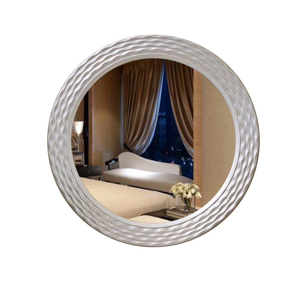 Makeup Mirror Wall Mirror Decorative Antique, Oval Vintage Wall Mounted Mirror White Wooden Frame for Bedroom Dressers Living Room Wall-Mounted Vanity Mirrors (Color : Silver)