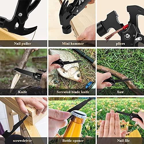 Marteau Multifonction, 12 en 1 Pince Multifonction, Couteau Pliant en Acier Inoxydable avec Pince Tournevis pour Camping, Randonnée, Activités Extérieures